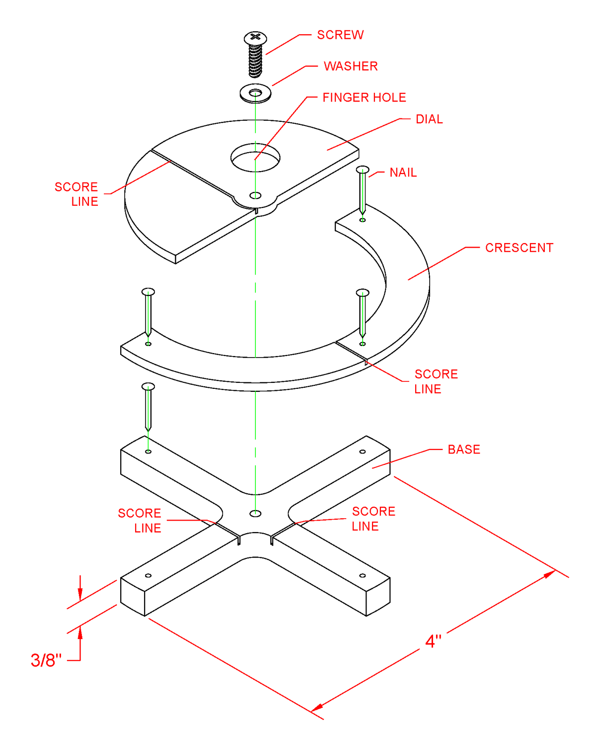 CAD Drawing of a Spinmount in Exploded View